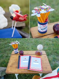 Soaring to new Heights back to School Party - Great tablescape and plane propellers pencil toppers!!  #backtoschool #pencils #partyideas #printables #airplanes