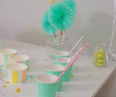 Ice Cream Party!  Mint, Yellow, Pink, Purple and Blue. Party in a box, one purchase, quick set up and all of a sudden, you have a 'PartyMade' that is pinterest worthy! Ice Cream Party, Blue Party, Party In A Box, Pink Purple, Mint, Yellow, Desserts, Deserts, Dessert