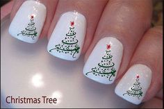 Easy Christmas Tree Nail Art