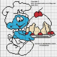 Bonjour, L'invasion sur mon blog des petits êtres bleus continus avec le schtroumpf gourmand. Pour imprimer la grille, cliquez sur l'image. Merci par avance pour la photo de votre ouvrage créé à partir d'une de mes grilles. Bonne journée