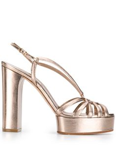 Casadei Platform Sandals In Gold Chunky High Heels, Water Shoes, Calf Leather, Ankle Strap, Calves, Gold, Peep Toe, Women Wear, Platform