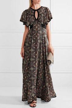 Talitha - Raj Cutout Printed Silk-georgette Maxi Dress - Black - x small