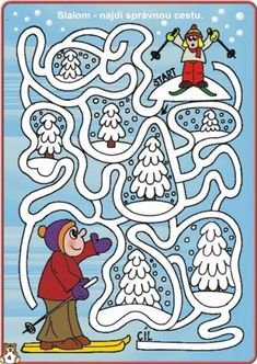 (2015-04) Skitur, mellem Mazes For Kids, Winter Activities For Kids, Christmas Cards Drawing, Olympic Crafts, Printable Mazes, Maze Puzzles, Labyrinth, Pre Writing, Educational Toys For Kids