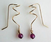 Finished Corkscrew Earrings Jewelry making project with beads