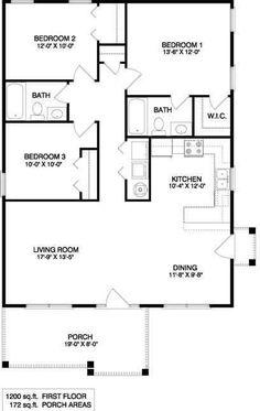 Guest House Plans, Coastal House Plans, Three Bedroom House Plan, Cottage Style House Plans, House Layout Plans, Bungalow House Plans, New House Plans, Dream House Plans, Duplex Floor Plans