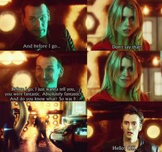 CONFESSION TIME: This is the only scene, EVER, where I actually disliked the 10th Doctor. Don't judge, I was a silly girl back then. A VERY silly girl. Now I look back on this scene with love and happiness. It's always hard when a Doctor regenerates.