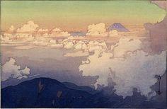 (Above the Clouds by Hiroshi Yoshida, 1876-1950, Japanese painter and woodblock printmaker)