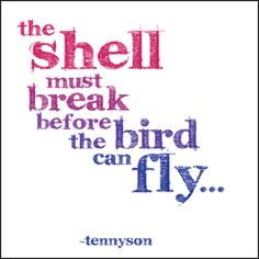 """The shell must break before the bird can fly"" -Tennyson"