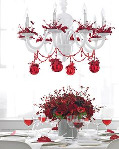 christmas decor on chandelier | ... Christmas Chandeliers » Romantic red Christmas chandelier (via