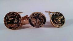 3 APOLLO 11 and 12 Nasa Tie Pins and Clip Bar Gold & Silver W/ Black Enamel