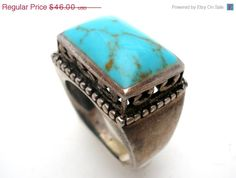 Sale Turquoise Gemstone Sterling Silver Ring Size 8 Vintage