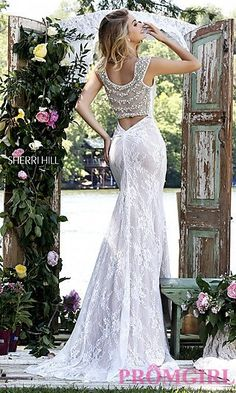 Lace Sherri Hill Dress with Beaded Back