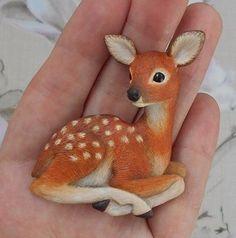 's photos – 3 albums Polymer Clay Figures, Polymer Clay Animals, Polymer Clay Dolls, Polymer Clay Charms, Polymer Clay Jewelry, Diy Clay, Clay Crafts, Deer Illustration, Animal Mugs
