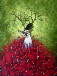 loVe is a symphony by Amanda Cass poppies violin woman art music Art And Illustration, Fantasy Kunst, Fantasy Art, Art Carte, Canvas Prints, Art Prints, Art Moderne, Whimsical Art, Belle Photo
