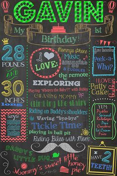 1st Birthday Chalkboard Poster Sign Printable / 16x24 /DIGITAL / babys 1st / Babys First Birthday Color / Plus FREE Web File via Etsy
