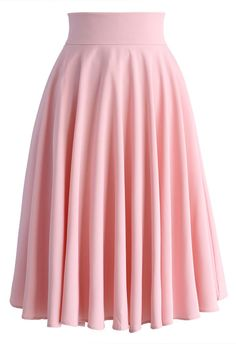 Creamy Pleated Midi Skirt in Pink - New Arrivals - Retro, Indie and Unique Fashion