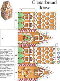 cajita de jengibre Gingerbread House Template Printable, Christmas Gift Box Template, Christmas Gift Boxes, Box Templates Printable Free, Freebies Printable, Christmas Houses, Christmas Templates, Free Christmas Printables, Printable Crafts