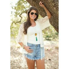 High Waisted Shorts & fringe vest - I love this one because it's neutral...so many ways to wear it!