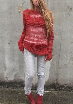 Red sweater Warm red oversized grunge sweater by ileaiye on Etsy,