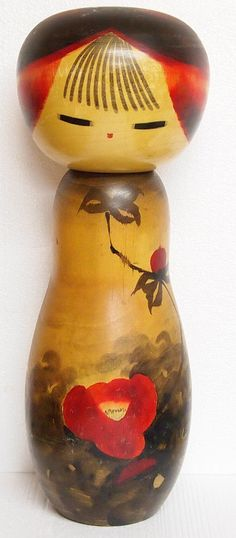 Beautiful large Japanese Sosaku Creative Kokeshi doll by the master artist Watanabe Masao who is credited with being one of the master artist responsible for the genesis of Sosaku style Kokeshi doll. The artist passed away in 2007.
