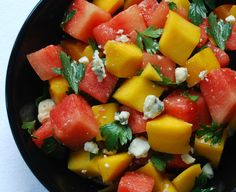 Watermelon, mango, blue cheese and cayenne pepper combine sweet, savory and spicy flavors in a fresh, colorful summer salad. Watermelon Salad, Mango Salad, Watermelon Recipes, Beet Salad Recipes, Healthy Recipes, Skinny Recipes, Healthy Snacks, Easy Salads, Summer Salads