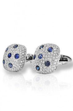 Men's White Gold Sapphire & Diamond Cufflinks: Rent Fine Jewelry & Luxury Watches Online