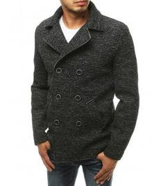 Čierny pánsky dvojradový kabát Coat, Jackets, Fashion, Down Jackets, Moda, Sewing Coat, Fashion Styles, Peacoats, Fashion Illustrations