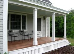Front Porch  Painted Clapboard Siding and Raw  parallel  Wood Deck 7 Steps to a Fantastic Front Porch   Front porches  Apartment  . Front Porch Columns Images. Home Design Ideas