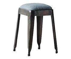 MNUFACTORI Tabouret acier et coton, noir et gris clair - H47