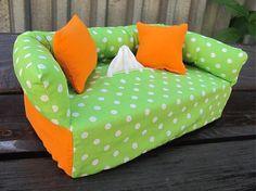 Wesega / Oranžovo-zelený dekoračný obal na papierové vreckovky