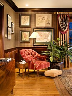 Love the dark molding and lighter floors. Mahogany Library- Home Office-Peter Rymwid Photography- Cover shot - traditional - home office - newark - Marlene Wangenheim AKBD, CAPS, Allied Member ASID