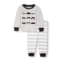 Baby And Toddler Boys Long Sleeve Felted Mustache Graphic Top And Striped Pants Pj Set