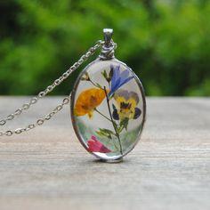 Pressed flower necklace, bridesmaid necklace, boho wedding, rustic wedding, real flower necklace by IskraCreations