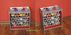 DIY toy garage made from toilet paper rolls and cardboard boxes - toilet paper roll crafts for kids