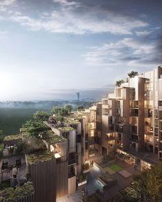 Oscar Properties #oscarproperties Stockholm, BIG, terrace, architecture, Gärdet, design