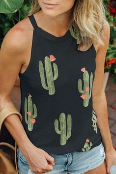 Sleevesless Cactus Print Tank Top in Black