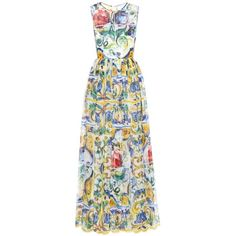 Dolce & Gabbana Printed Silk Chiffon Dress ($5,305) ❤ liked on Polyvore featuring dresses, cocktail/gowns, multicoloured, multi colored cocktail dresses, colorful cocktail dresses, evening dresses, multicolored dress and holiday dresses
