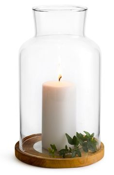 Beautifully gift-boxed, a hurricane glass candleholder to cast a romantic light over any room sits on a handsome oaken base with a sprig of faux greenery. Hurricane Lanterns, Hurricane Candle Holders, Candle Lanterns, Hurricane Glass, Large Pillar Candles, Taper Candles, Nordstrom Home, Candle Wall Sconces, Nordic Design