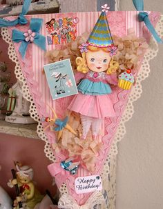 Vintage Style Pink Whimsical Party Girl Birthday by saturdayfinds