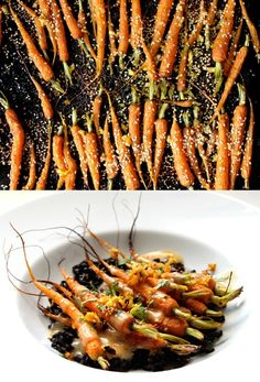 Ginger-roasted carrots with miso dressing