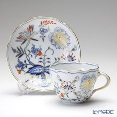 Blue Onion Red and Gold Meissen Cup and Saucer