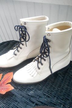 Vintage White Leather Lace Up Boots With by JulesCristenVintage