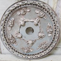 Aged Ceiling Medallion Old French Ornate Gold And Pink