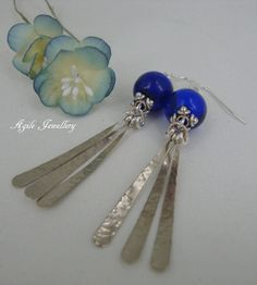 Stunning Cobalt blue Earrings. Sterling Silver by annagiles,