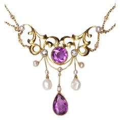 Amethyst Diamond and Pearl Art Nouveau Necklace USA c.1900