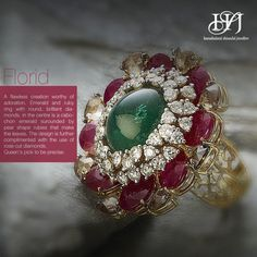 Florid Flawless creation worthy of adoration. Emerald and ruby ring with round, brilliant diamonds. In the centre is a cabochon emerald surrounded by pear shape rubies that make the leaves. The design is further complimented with the use of rose cut. Queen's pick to be precise.