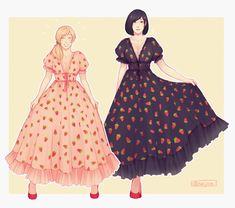 Strawberry Baby, Strawberry Dress, Haikyuu Manga, Haikyuu Fanart, Anime Girl Dress, Pansexual Pride, Dress Drawing, Haikyuu Ships, Karasuno
