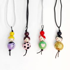 Little Ladies Wood Bead Necklaces – schlüsselanhänger - DIY and crafts Hobbies And Crafts, Diy And Crafts, Crafts For Kids, Arts And Crafts, Bead Crafts, Jewelry Crafts, Peg Doll, Beaded Jewelry, Handmade Jewelry