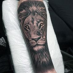 Man Wiht Cool Inner Forearm Sleeve Lion Tattoo