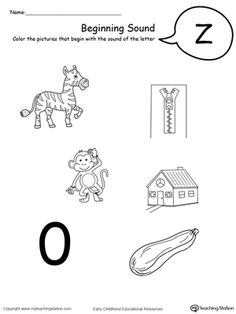 Learn the beginning sound of the letter Z by practing pronouncing the name of the pictures that begin with the letter Z. Recognizing letter sounds is essential in reading and writing and are the basic building blocks of literacy learning. Letter T Worksheets, Free Printable Worksheets, Kindergarten Worksheets, Worksheets For Kids, Teaching The Alphabet, Learning Letters, Beginning Sounds Worksheets, English Lesson Plans, Uppercase And Lowercase Letters